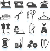 sewing tailor and Garment black & white vector icon set