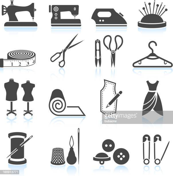 sewing tailor and garment black & white vector icon set - textile industry stock illustrations