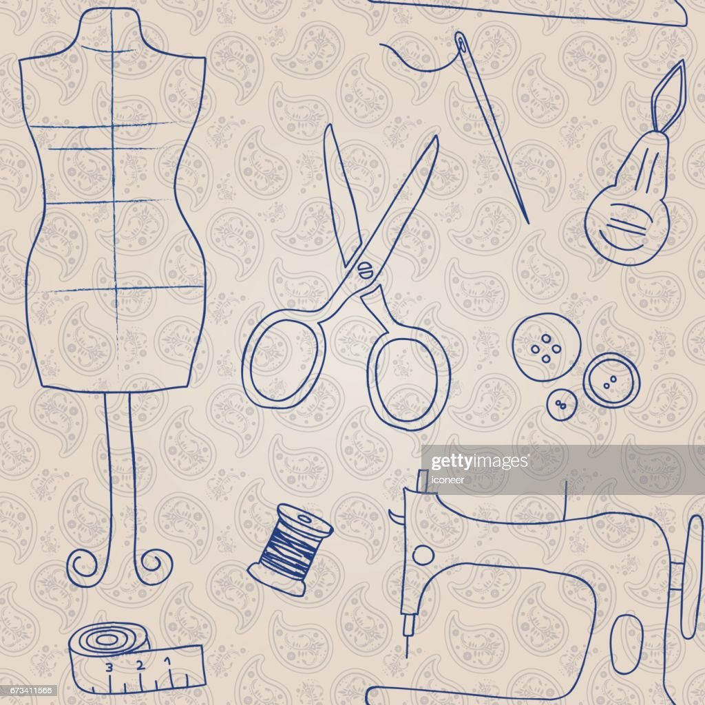 Sewing Utilities Paisley Wallpaper Seamless Pattern Retro Design ...