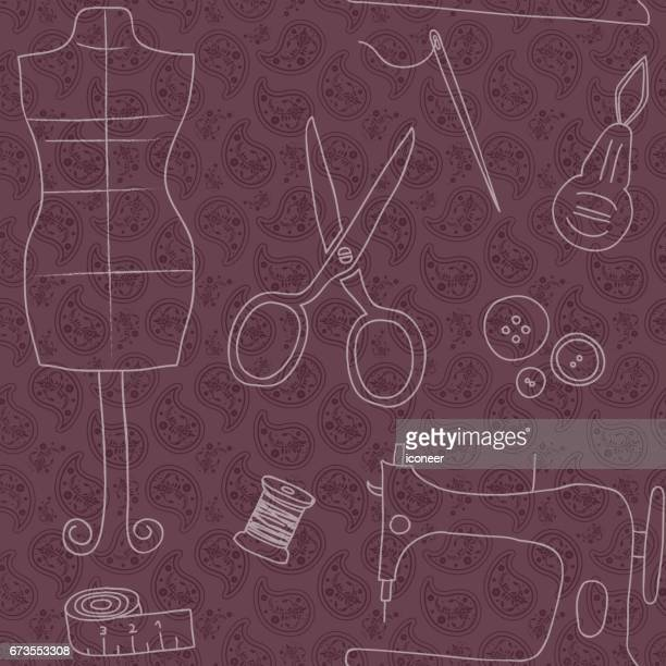 sewing utilities red vintage wallpaper seamless retro design - button sewing item stock illustrations