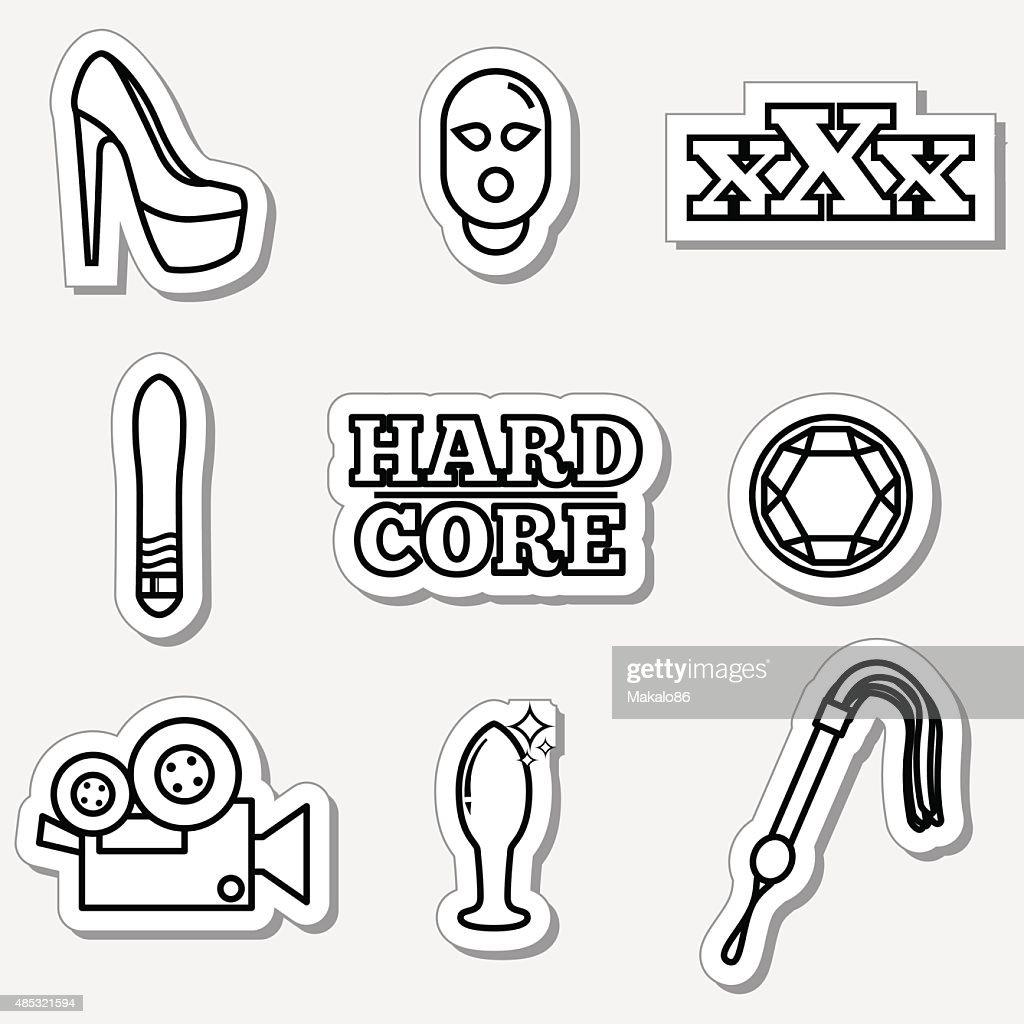 Sex, fetish icon set