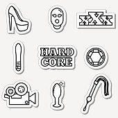 Sex, fetish icon set