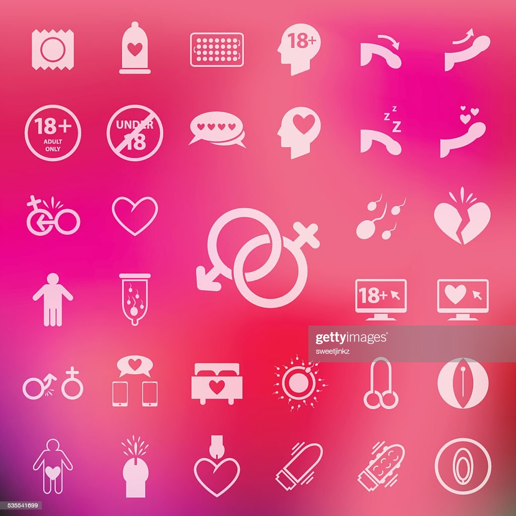 Sex icon set on blur pink background.vector/eps10.