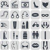 Sex icons set, symbol xxx