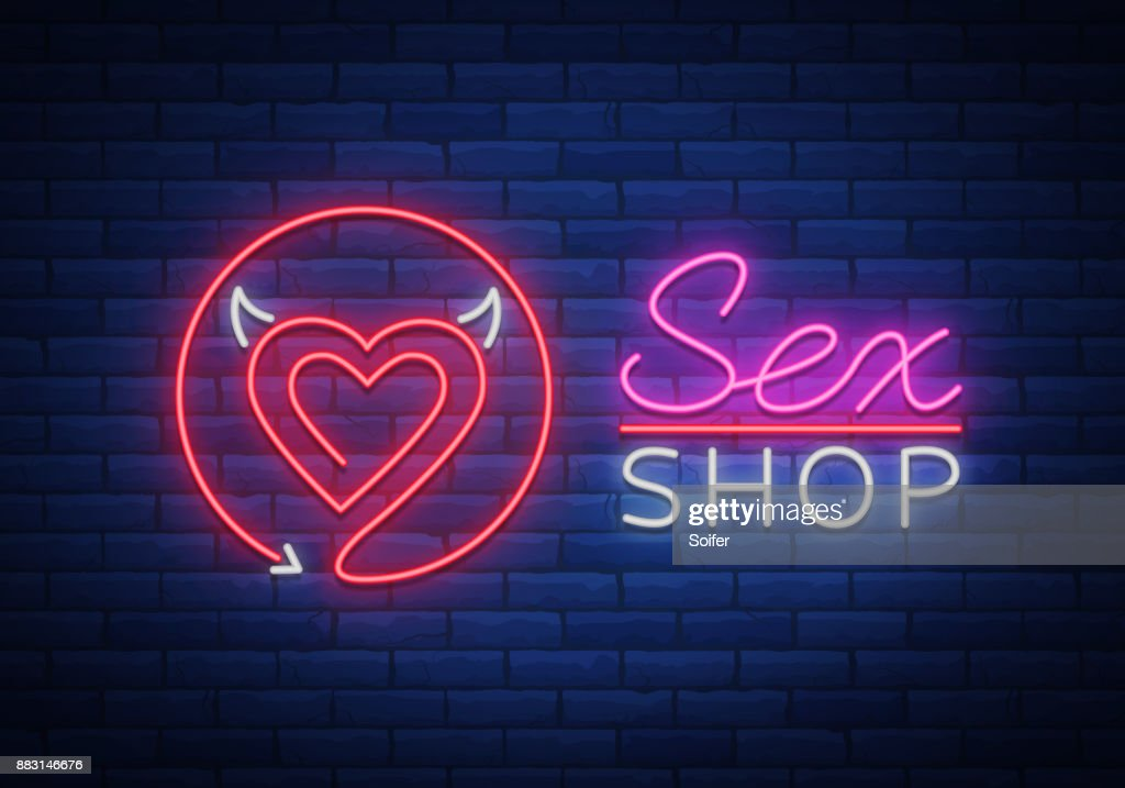 Sex Pattern , Sexy xxx concept for adults in neon style. Neon sign, design element, storage, prints, facades, window signs, digital projects. Intimate store. Bright night sign advertising. Vector