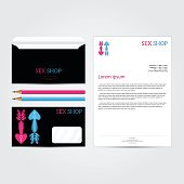 XXX sex shop salon black Corporate identity template set. Busine