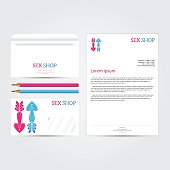 XXX sex shop salon white Corporate identity template set. Busine