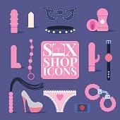 Sex shop vector icons, symbols set, design element