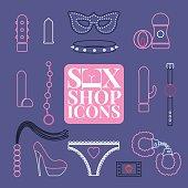 Sex shop vector icons, symbols set