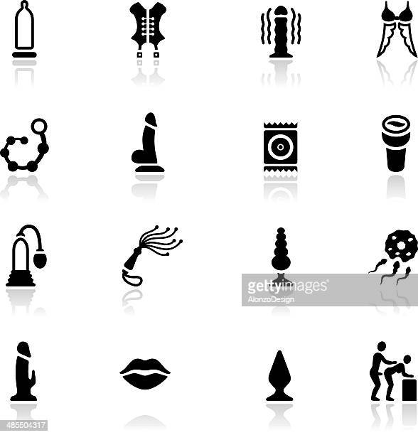 sex toy icon set - sexual fetish stock illustrations, clip art, cartoons, & icons