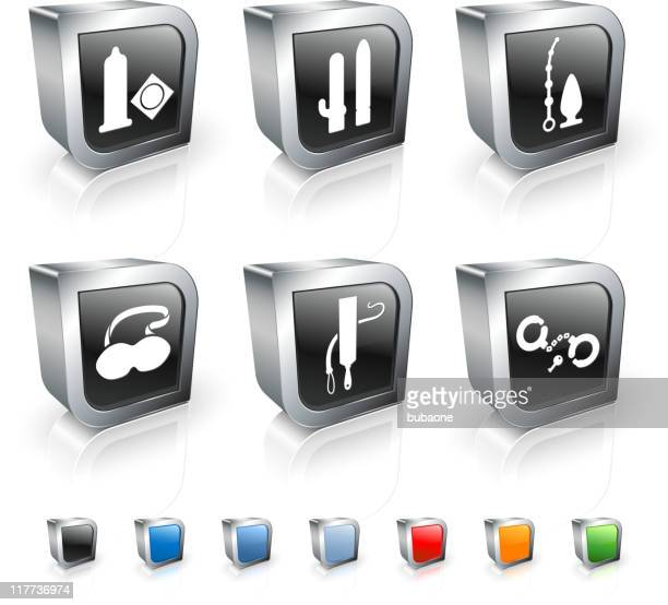 sex toys 3D royalty free vector icon set