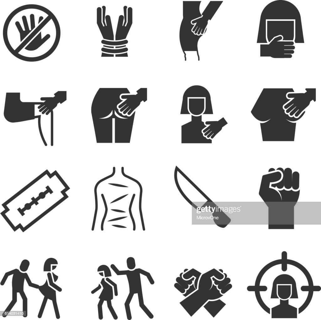 Sexual abuse, harassment, violence vector icons set