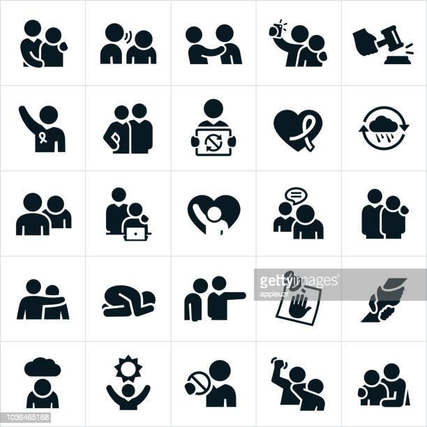 sexual harassment in the workplace icons - emotion stock illustrations