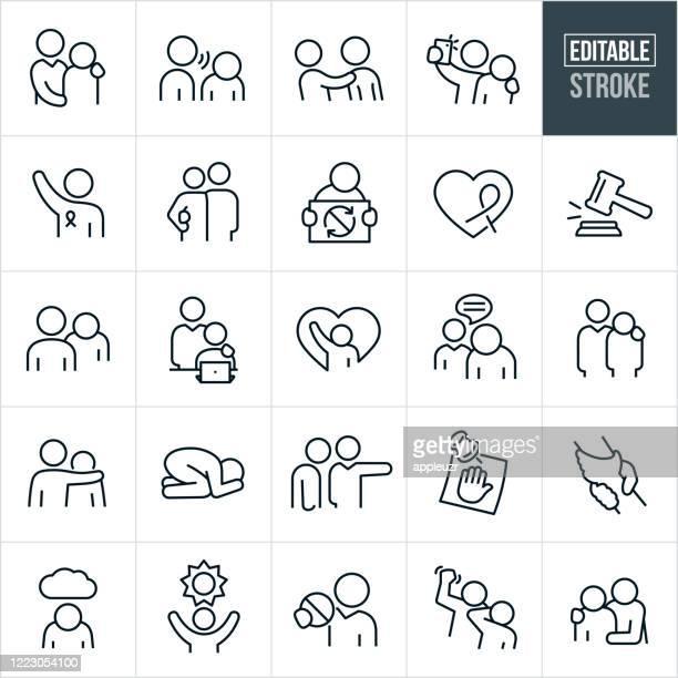 ilustrações de stock, clip art, desenhos animados e ícones de sexual harassment thin line icons - editable stroke - desconfortável