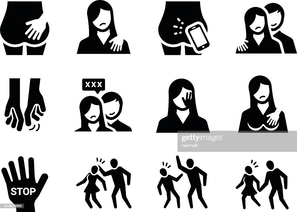 Sexual Harassment Vector Icon Set