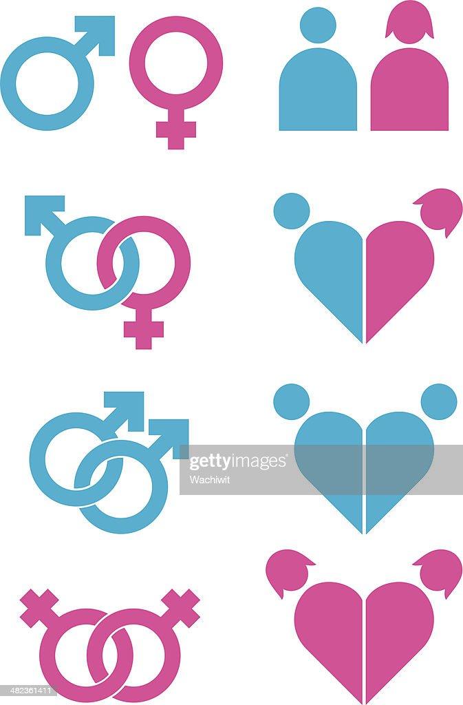 Sexuality icons set
