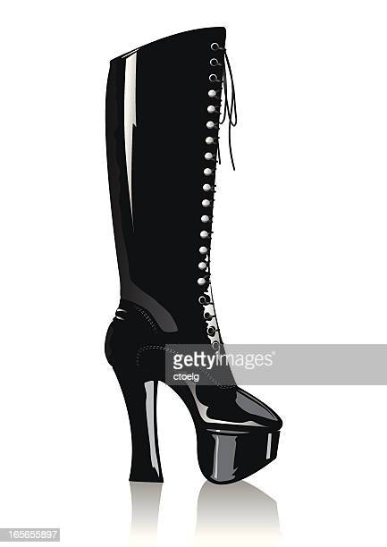 sexy black leather boot - sexual fetish stock illustrations, clip art, cartoons, & icons