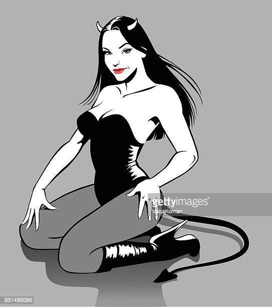 ilustraciones, imágenes clip art, dibujos animados e iconos de stock de sexy devil mujer en blanco y negro - los siete pecados capitales