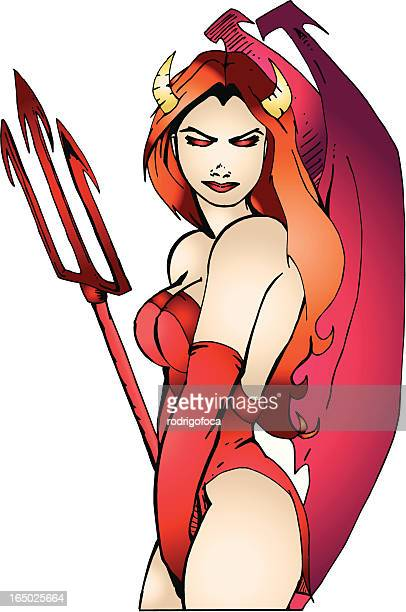 Sexy Evil Woman Devil from Hell Halloween VECTOR Ilustration