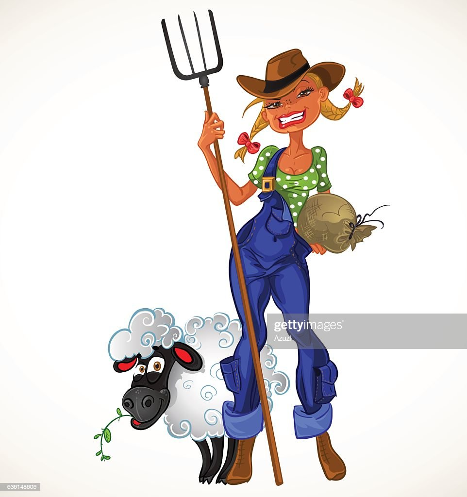 Sexy farm girl with agricultural implements and sheep