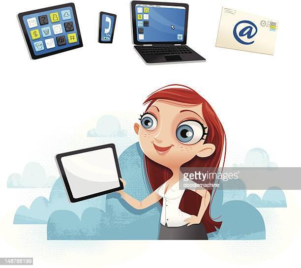 illustrations, cliparts, dessins animés et icônes de sexy fille avec tablette dans les nuages ! - femme grosse