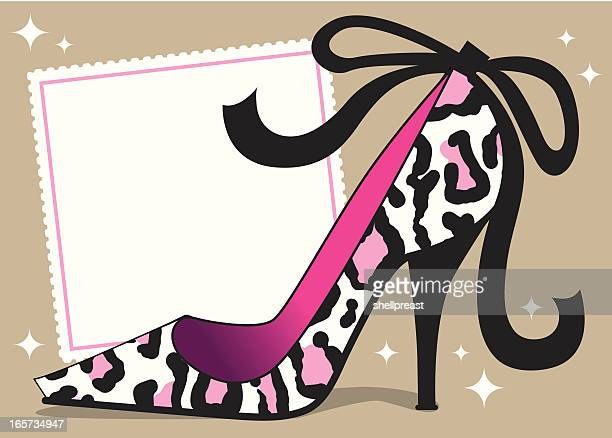 sexy leopard stiletto background - high heels stock illustrations