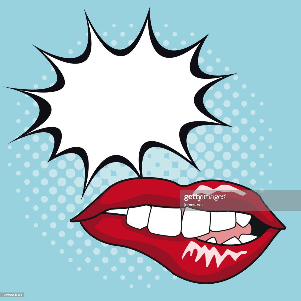 Sexy lips pop art with speech bubble