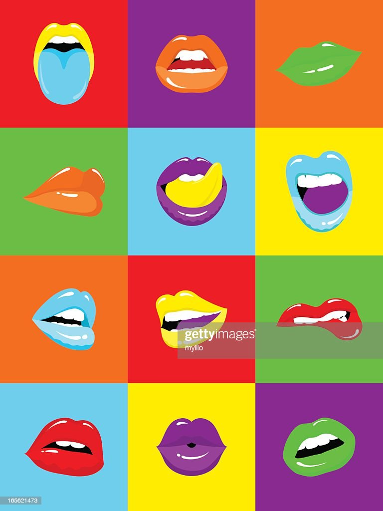 sexy lips popart illustration vector