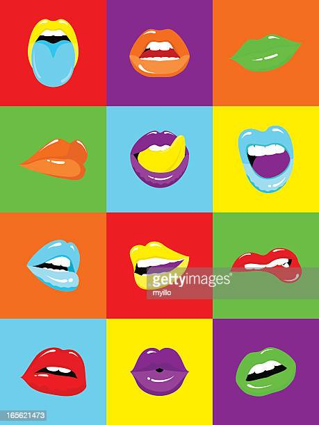 sexy lips popart illustration vector - mouth stock illustrations, clip art, cartoons, & icons