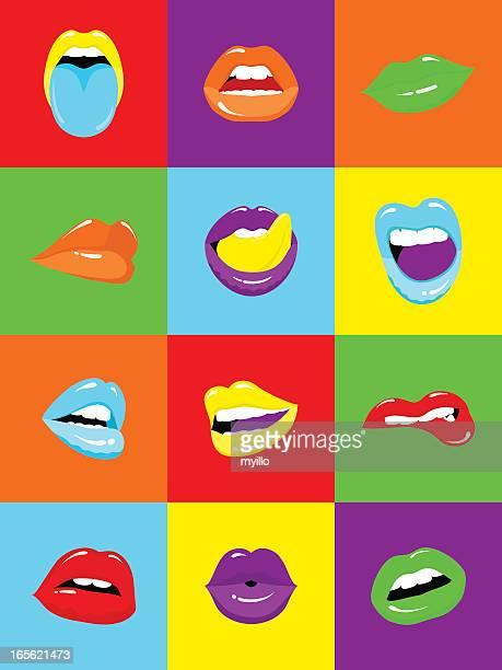 sexy lips popart illustration vector - lipstick kiss stock illustrations, clip art, cartoons, & icons