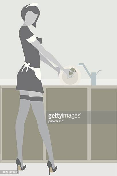 Sexy maid washing dishes