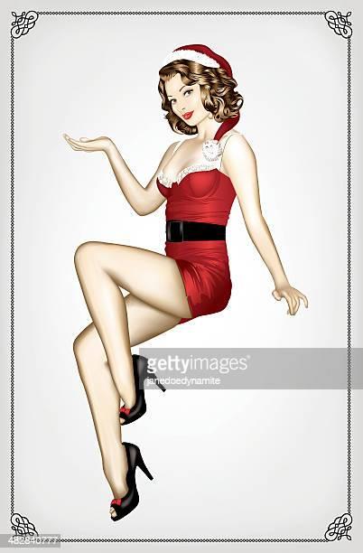 ilustraciones, imágenes clip art, dibujos animados e iconos de stock de sexy santa pin up girl - chicas de calendario