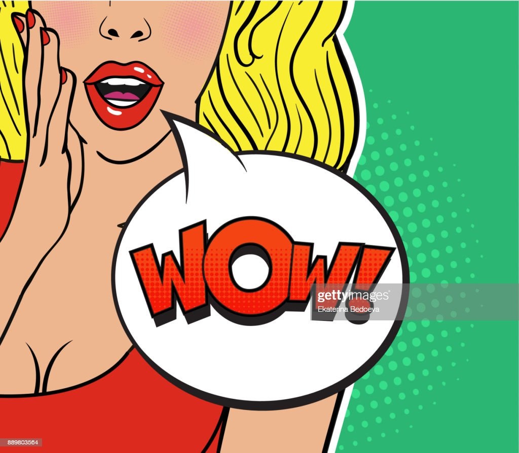 Sexy surprised blond girl in red dress on green background. Comic speech bubble with expression text WOW.