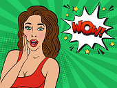 Sexy surprised brunette girl in red dress on striped green background. Comic speech bubble text WOW.