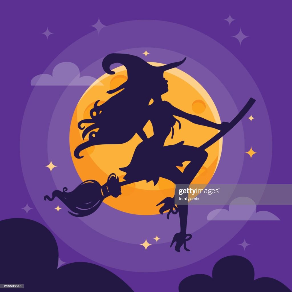Sexy Witch Silhouette Dark Halloween Night