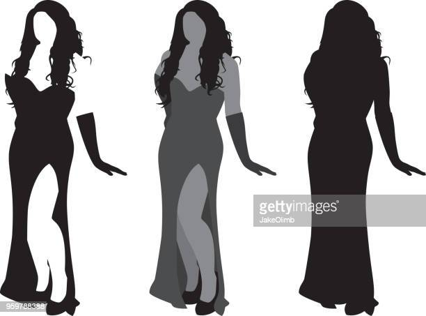 sexy woman silhouette - sleeveless stock illustrations, clip art, cartoons, & icons