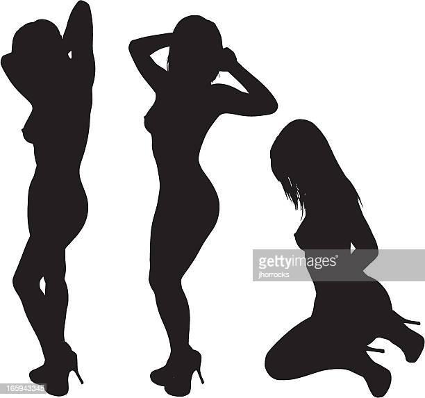 ilustraciones, imágenes clip art, dibujos animados e iconos de stock de siluetas de mujer sexy - mujer desnuda