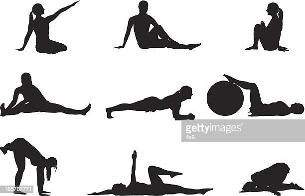 sexy woman yoga poses - lying on back stock illustrations, clip art, cartoons, & icons