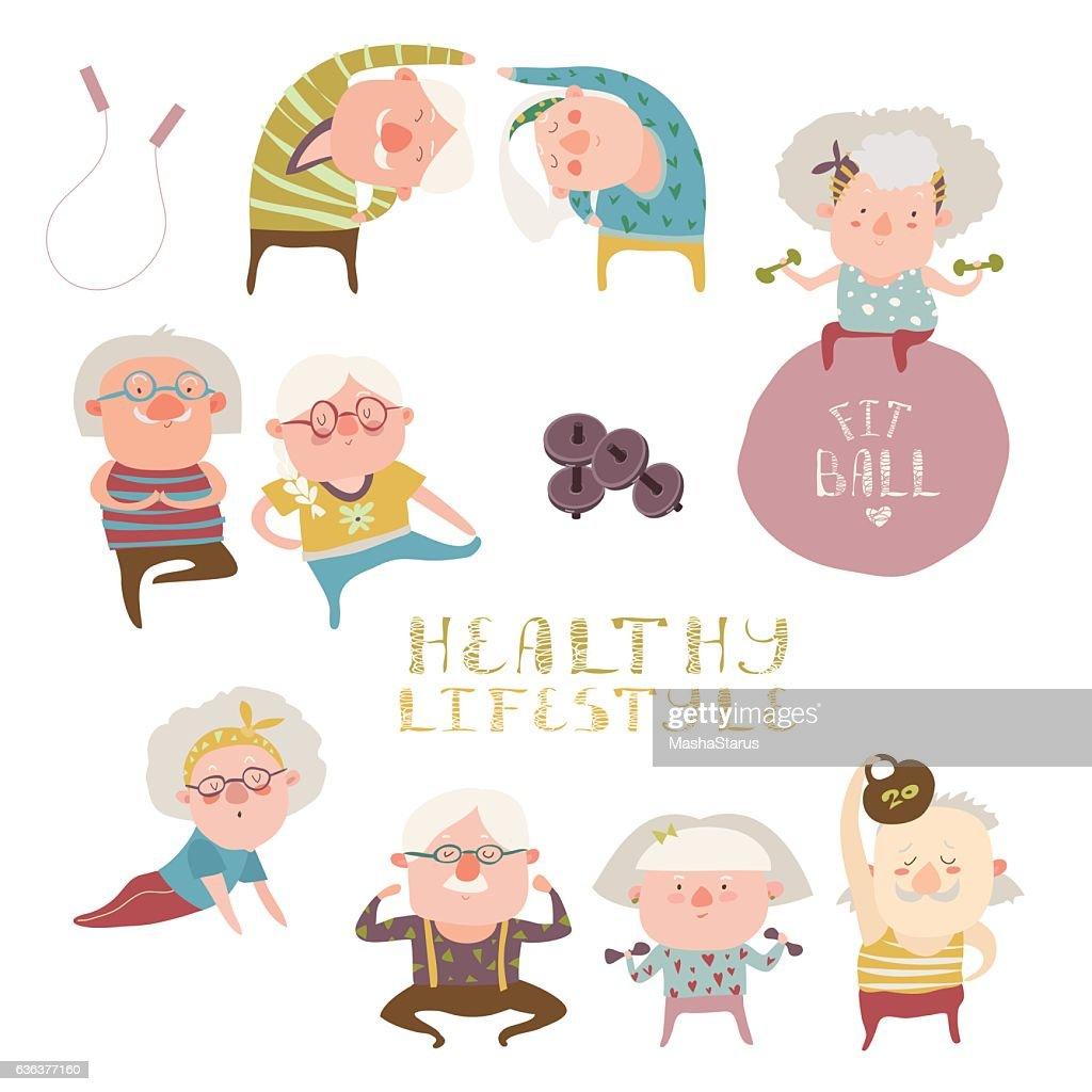 Sey of elderly people doing exercises