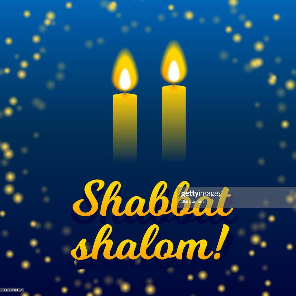 Shabbat shalom candles greeting card lettering