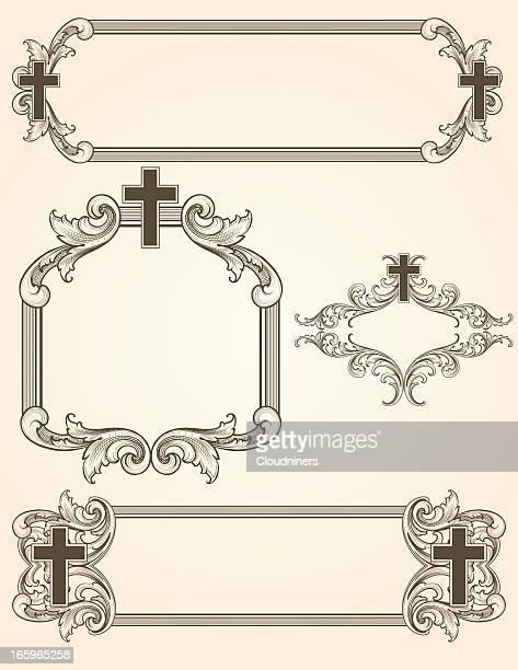 shaded arabesque cross frames - religion stock illustrations