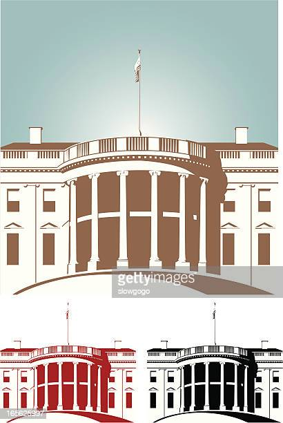 shaded brown red and black white house - white house washington dc stock illustrations, clip art, cartoons, & icons