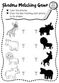 Shadow matching game african animal coloring page version