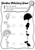 Shadow matching game bird animal coloring page version
