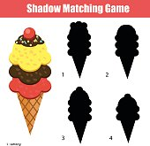 Shadow matching game. Christmas theme, kids activity, worksheet