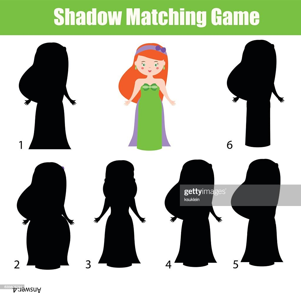Shadow matching game. Cute Princess character