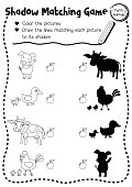 Shadow matching game farm animal coloring page version