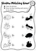Shadow matching game insect bug animal coloring page version