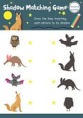 Shadow matching game nocturnal animal