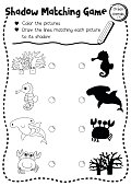 Shadow matching game ocean animal coloring page version